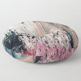 Kelly: a bold, textured, abstract mixed media piece in bright pinks, blues, and white Floor Pillow