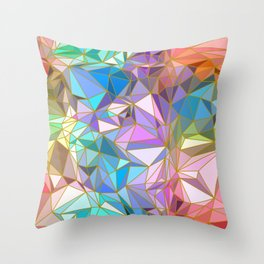 Sparkling Crystal Colourful Crystalline with Gold Lines Throw Pillow