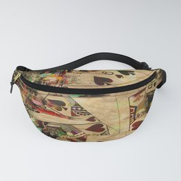 Abstract Vintage Playing cards  Digital Art Fanny Pack