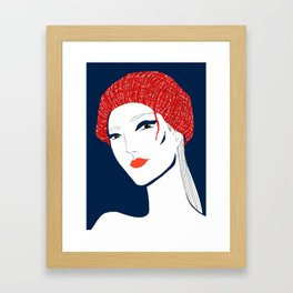 the girl with the hat Framed Art Print