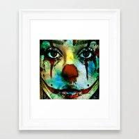 clown Framed Art Prints featuring Clown by Ganech joe