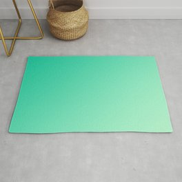 Dark Cyan Green and Light Cyan lime Green Gradient Ombré  Rug