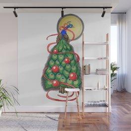 Fancy Peacock Christmas Tree Wall Mural