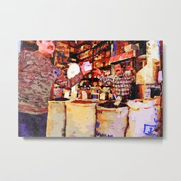 Aleppo: buyer and seller in the grocery store Metal Print