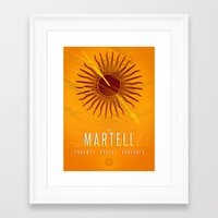 martell Framed Art Prints featuring House Martell Sigil III (house words) by P3RF3KT