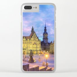 Dresden skyline at dusk Clear iPhone Case
