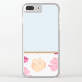 Duck egg blue peony Clear iPhone Case