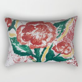 Painted  Rose Rectangular Pillow
