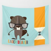beaver Wall Tapestries featuring Eager Beaver by Steph Dillon