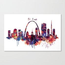 St Louis Watercolor Skyline Canvas Print