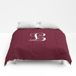 Monogram Letter L on Dark Maroon Comforters