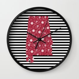 Alabama state silhouette stripes university of alabama crimson tide floral college football gifts Wall Clock