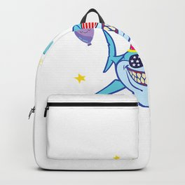 US Flag Glass Shark Cake Balloon Happy Birthday 20 Years Boy T-Shirt Backpack