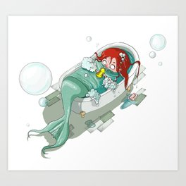 Mermaid nowadays Art Print