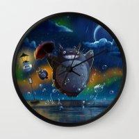 studio ghibli Wall Clocks featuring Studio Ghibli: My Neighbour Totoros by Laurence Andrew Page Illustrator