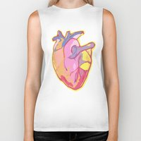 anatomical heart Biker Tanks featuring Heart by Riley