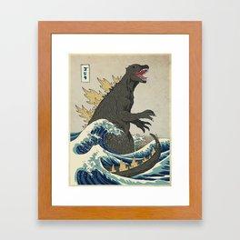 The Great Godzilla off Kanagawa Gerahmter Kunstdruck