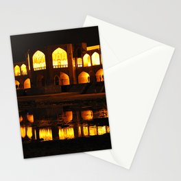 Persian Architecture Si-o-se-pol bridge at Night, Isfahan, Iran Stationery Cards