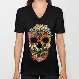 Floral Skull Vintage Black Unisex V-Neck
