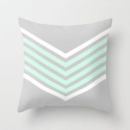 Mint & White Arrows Over Grey Throw Pillow