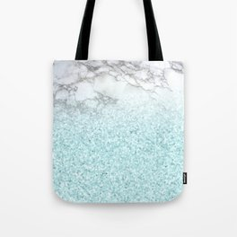 Pretty Turquoise Sparkles on Gray and White Marble Tote Bag