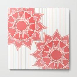 Pastel color coral pink floral mandala stripes Metal Print