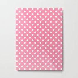 Small Polka Dots - White on Flamingo Pink Metal Print