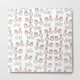 vintage pastel pink coral bicycle floral pattern Metal Print