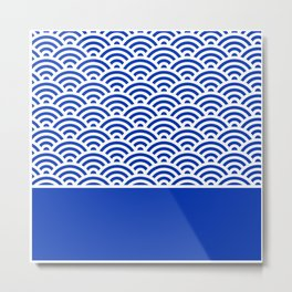 Dark Blue Seigaiha Wave Crest With Solid Panel Metal Print