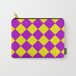 Plaid in crimson and yellow colours . Cell . Carry-All Pouch