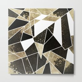 Modern Rustic Black White and Faux Gold Geometric Metal Print