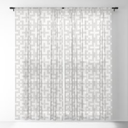 Minimal Nordic Crosses - Scandinavian Warm Grey Pattern Sheer Curtain
