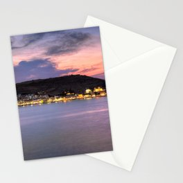 Korissia, which is a natural harbor welcomes you to the island of Kea, Greece Stationery Cards