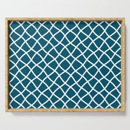 Teal blue and white curved grid pattern Serving Tray