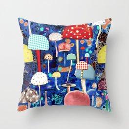 Blue Mushrooms - Zu hause Marine blue Abstract Art Throw Pillow