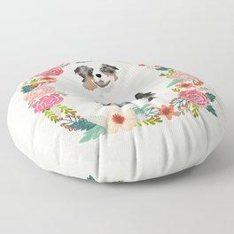 australian shepherd blue merle floral wreath dog gifts pet portraits Floor Pillow