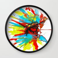native american Wall Clocks featuring Native American by ART HOLES