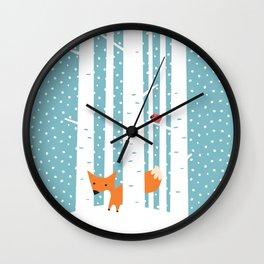 Fox in snow Wall Clock