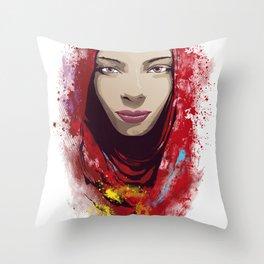 Rajasthan portrait Throw Pillow