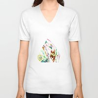 waterfall V-neck T-shirts featuring Waterfall by Kat Heroine