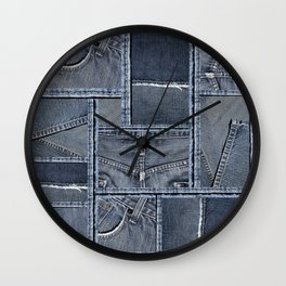 Blue Jeans Denim Patchwork Pattern Wall Clock