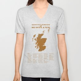 Distilleries of Scotland (woodpress) Unisex V-Neck