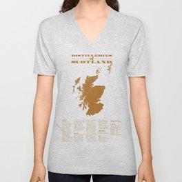 Distilleries of Scotland (woodpress) Unisex V-Neck