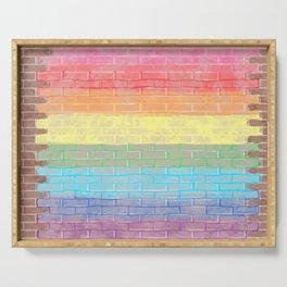 LGBTQ+ Pride Flag Distressed Brick Design Serving Tray