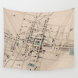 Vintage Map of Harrisonburg Virginia (1877) Wall Tapestry