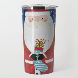 Santa with Stocking Travel Mug