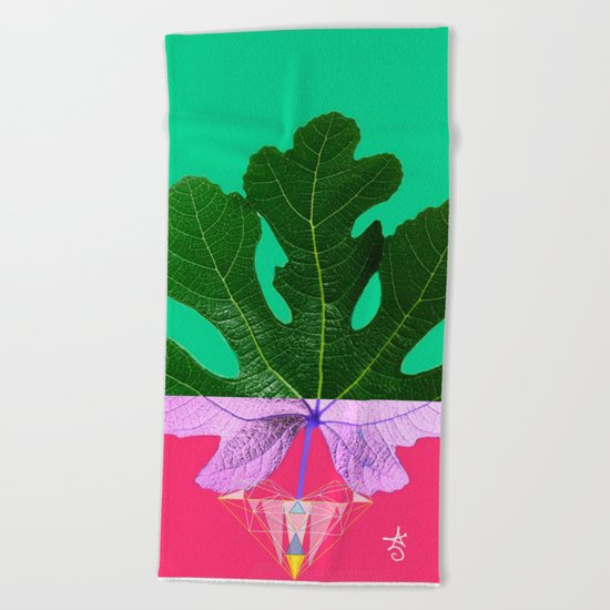 Fig Leaf Diamond Christmas - Other Half and Half Beach Towel