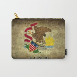 Illinois State flag vintage parchment paper type textures Carry-All Pouch