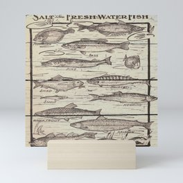 father's day fisherman gifts whitewashed wood lakehouse freshwater fish Mini Art Print