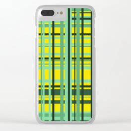 Checkered yellow green Design Clear iPhone Case